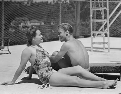 Couple At Poolside Art Print by George Marks