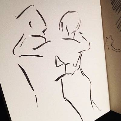 Brush Wall Art - Photograph - #couple #dancing - #brush #drawing In by Jeff Reinhardt