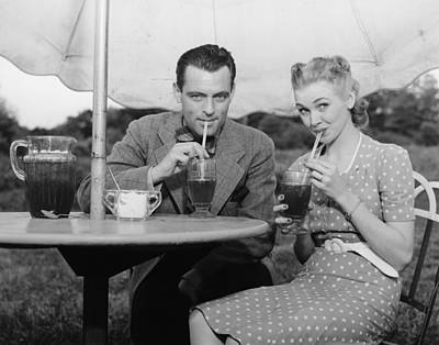 Couple Having Ice Tea Outdoors, (b&w), Portrait Art Print by George Marks