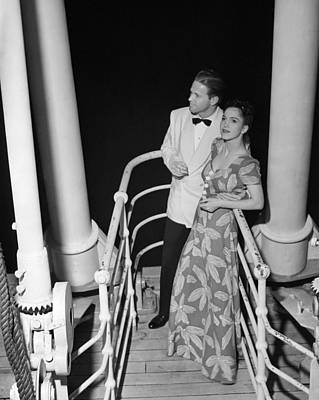 Couple In Evening Wear Art Print by George Marks