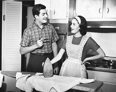 Couple Ironing Art Print by George Marks