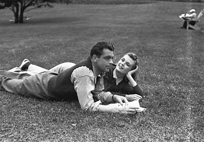 Couple Lying On Grass, (b&w) Art Print by George Marks