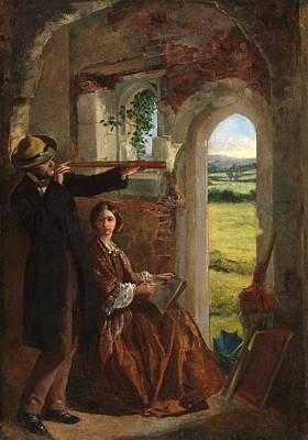 Female Spy Painting - Couple Observing A Landscape by English School