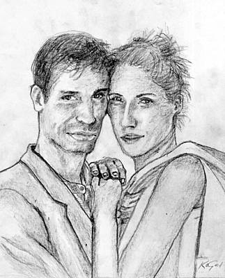 Eyelash Drawing - Couple Pencil Portrait by Romy Galicia