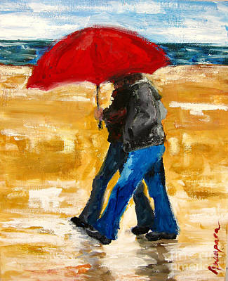 Painting - Couple Under A Red Umbrella by Patricia Awapara