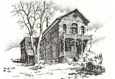 Abandoned Building Drawing - Courthouse Bannack Ghost Town Montana by Kevin Heaney