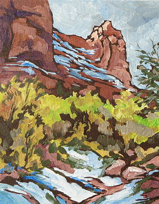 Snow Melt Painting - Courthouse Rock by Sandy Tracey