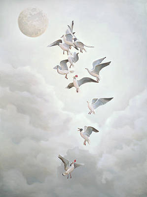Metaphysical Realism Painting - Courting The Moon by Paul Bond