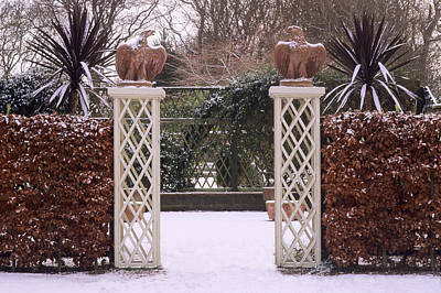 Courtyard Garden, Italianate Style, Winter Snow Art Print