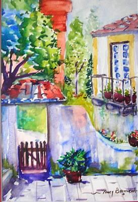 Courtyard In Sintra Art Print by Nancy Brennand