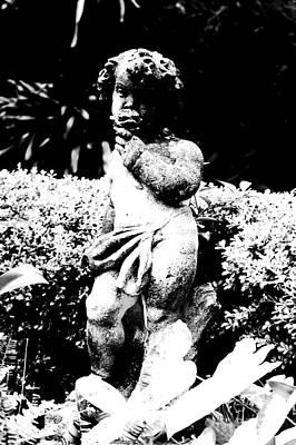 Innocent Angels Digital Art - Courtyard Statue Of A Cherub French Quarter New Orleans Black And White Conte Crayon Digital Art by Shawn O'Brien