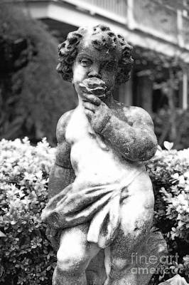 Innocent Angels Digital Art - Courtyard Statue Of A Cherub French Quarter New Orleans Black And White Diffuse Glow Digital Art by Shawn O'Brien