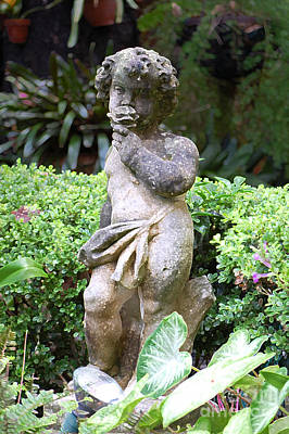 Digital Art - Courtyard Statue Of A Cherub Smelling A Rose French Quarter New Orleans Accented Edges Digital Art by Shawn O'Brien