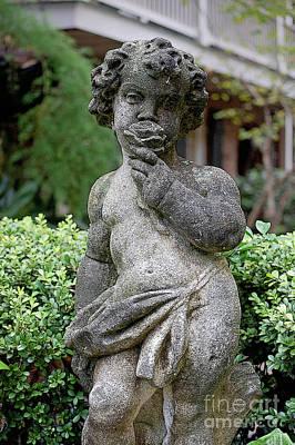 French Quarter Digital Art - Courtyard Statue Of A Cherub Smelling A Rose French Quarter New Orleans Diffposter Edges Digital Art by Shawn O'Brien