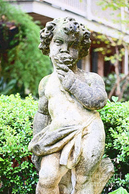 Digital Art - Courtyard Statue Of A Cherub Smelling A Rose French Quarter New Orleans Film Grain Digital Art by Shawn O'Brien