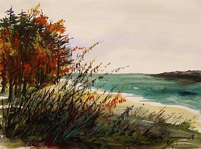 Beach Landscape Drawing - Cove On An Autumn Day by John Williams