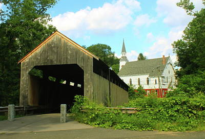Photograph - Covered Bridge And Church Conway Ma by John Burk