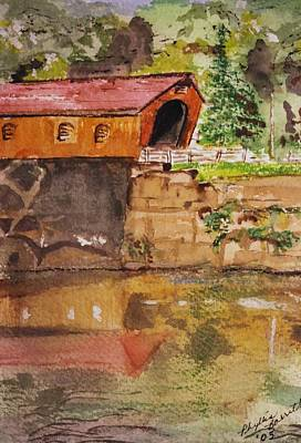Covered Bridge And Reflection Art Print by Phyllis Barrett