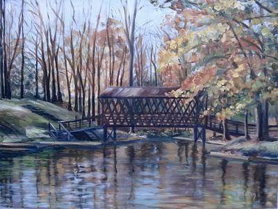 Covered Bridge At Lake Roaming Rock Art Print by Donna Tuten