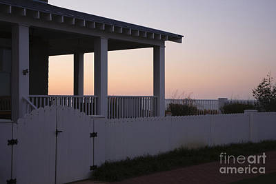 Covered Porch And Fence At Sunset Art Print