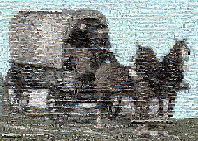 Montage Mixed Media - Covered Wagon Mosaic by Paul Van Scott