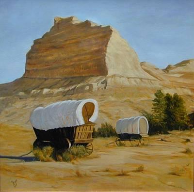 Covered Wagons Art Print