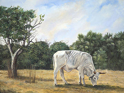 Art Print featuring the painting Cow by AnnaJo Vahle