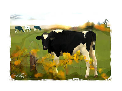 Cow Mixed Media - Cow Folk by Bob Salo