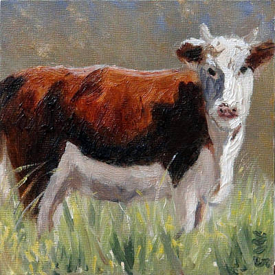 Painting - Cow In The Meadow by Gaye White