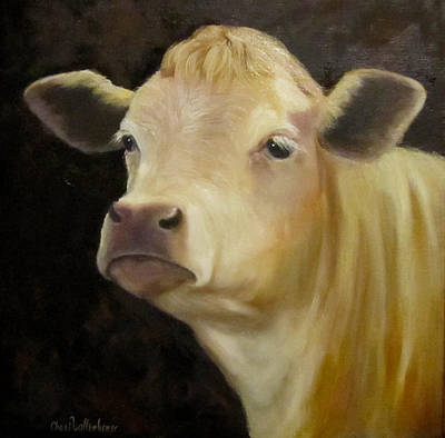 Cow Face Painting - Cow Painting Of Bert by Cheri Wollenberg