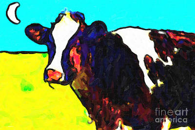 Photograph - Cow Under Moon by Wingsdomain Art and Photography