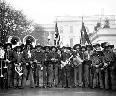 Marching Band Photograph - Cowboy Band, 1929 by Granger