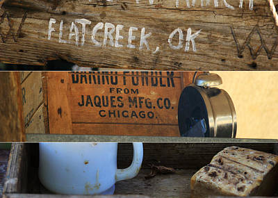 Log Cabin Art Photograph - Cowboy Essentials Triptych by Toni Hopper