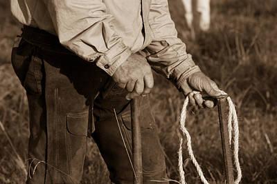 Cowboy Hands At Work Art Print by Toni Hopper