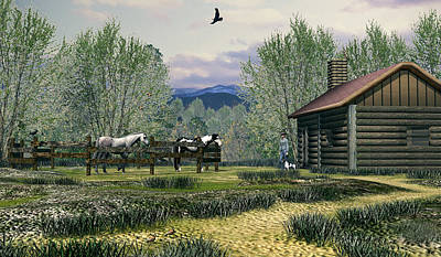 Digital Art - Cowboy Line Shack by Walter Colvin
