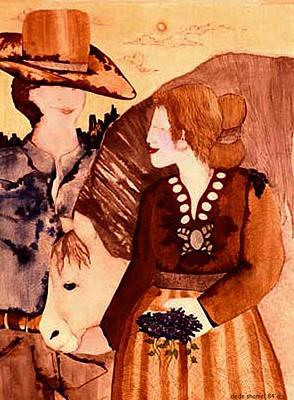 Cowboy Love Art Print by Dede Shamel Davalos