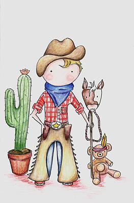 Cowboy Art Print by Sarah LoCascio