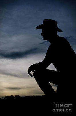 Working Cowboy Photograph - Cowboy Silhouette At Sunset by Andre Babiak