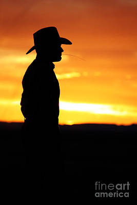 Cowboy Sunset Art Print by Val Armstrong