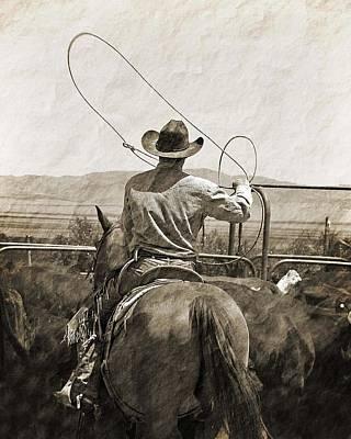Cowboy Photograph - Cowboy Swinging Rope by Megan Chambers