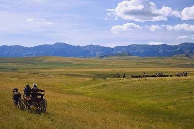 Cattle Drive Photograph - Cowboys And Wagon On A Cattle Drive by Carson Ganci