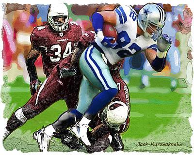 Cowboys Jason Witten Cardinals Tim Hightower Art Print by Jack K
