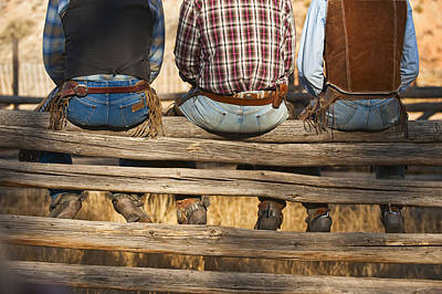 Working Cowboy Photograph - Cowboys Sitting On Fence by Tetra Images