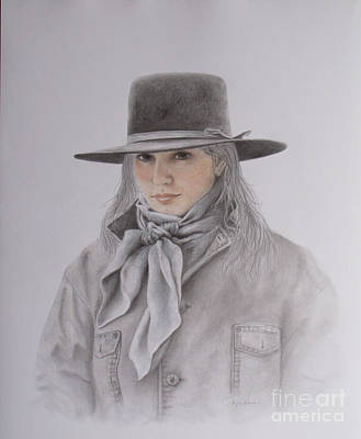 Drawing - Cowgirl In Hat by Phyllis Howard