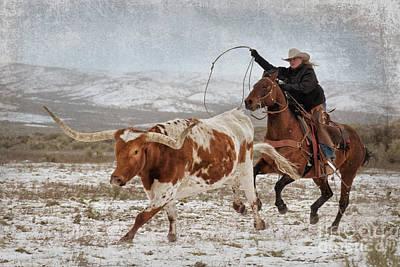 Cowgirl Roping Longhorn Art Print