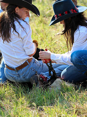 Cowgirls At Work Art Print by Elizabeth Hart