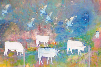 Cows And Birds Art Print by Jeff Burgess