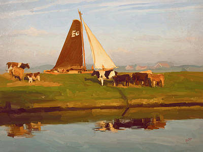 Holland Painting - Cows And Sails by Nop Briex