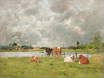 Field. Cloud Painting - Cows In A Field Under A Stormy Sky by Eugene Louis Boudin