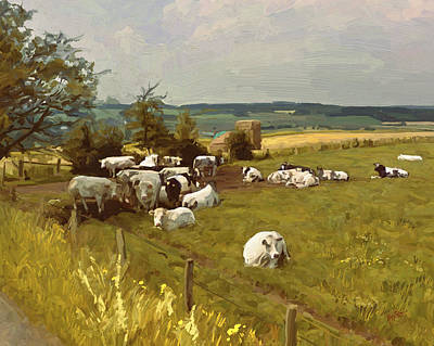Painting - Cows In The Ardennes by Nop Briex